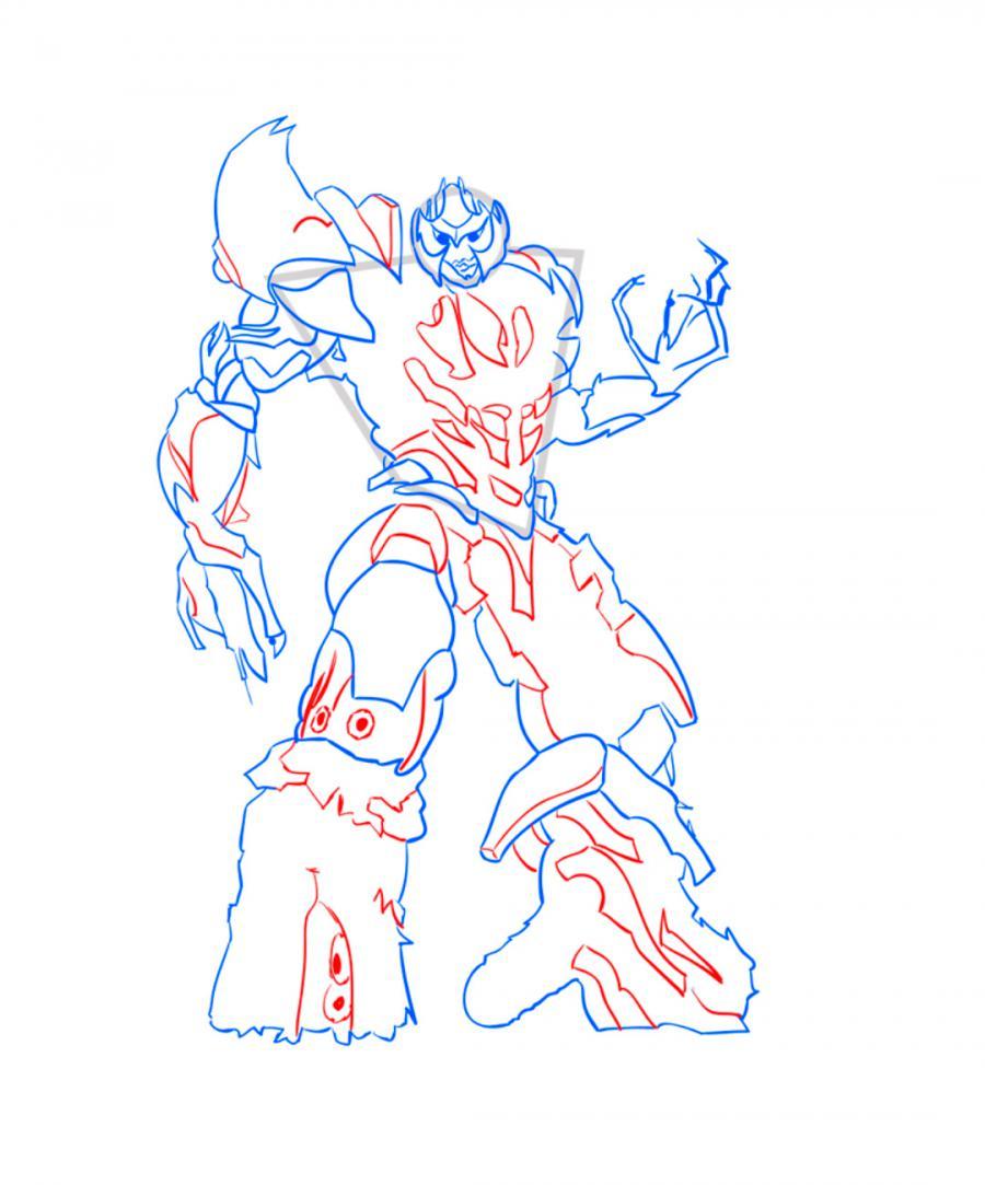 Рисуем десептикона Мегатрона - шаг 7