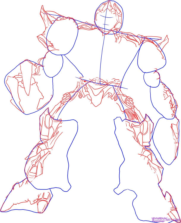 Рисуем десептикона Мегатрона - шаг 2