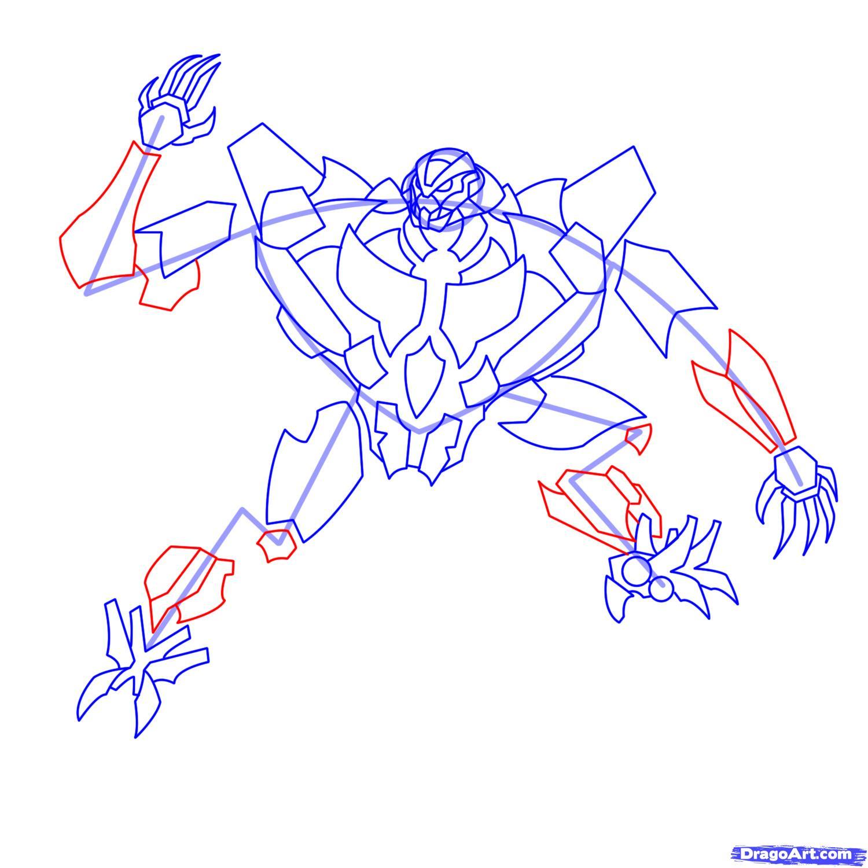 Рисуем трансформера Старскрима - шаг 16