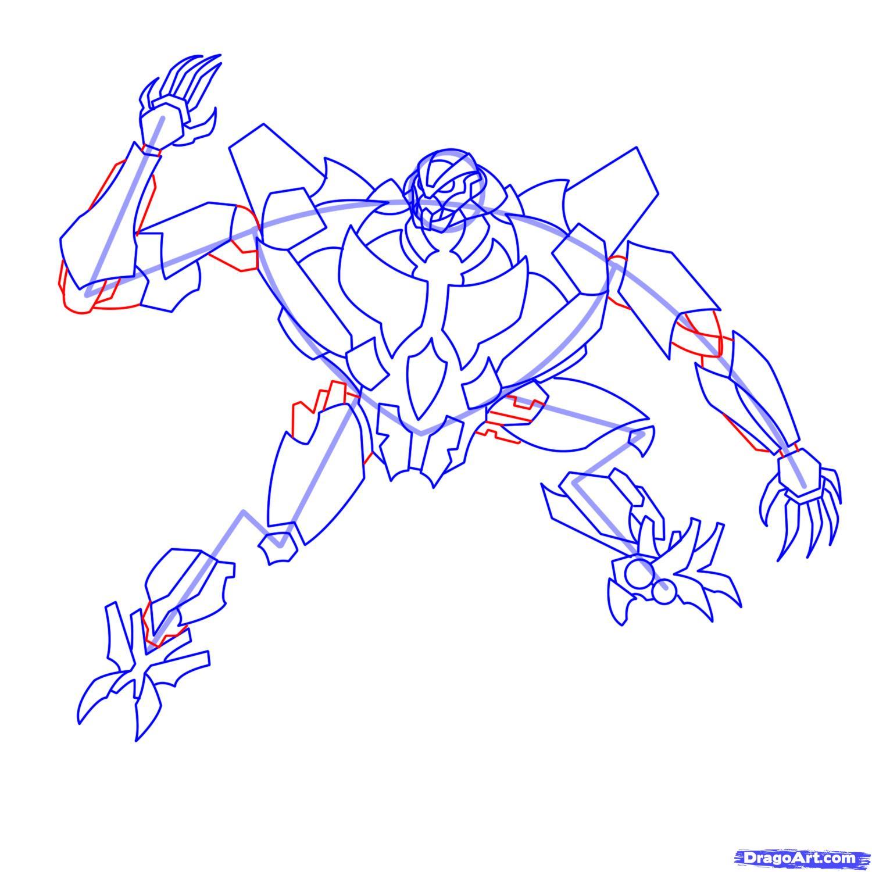 Рисуем трансформера Старскрима - шаг 17