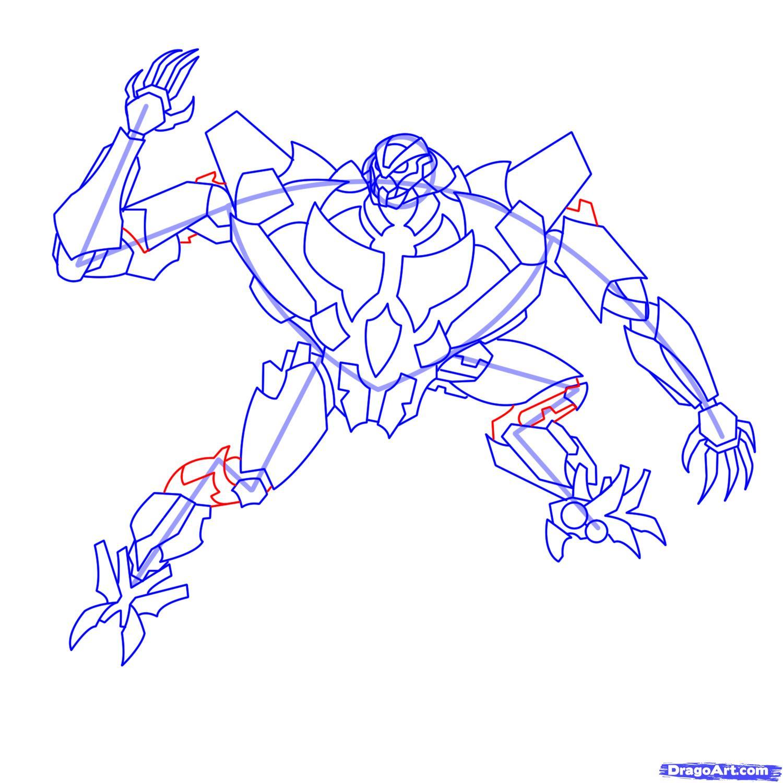 Рисуем трансформера Старскрима - шаг 18