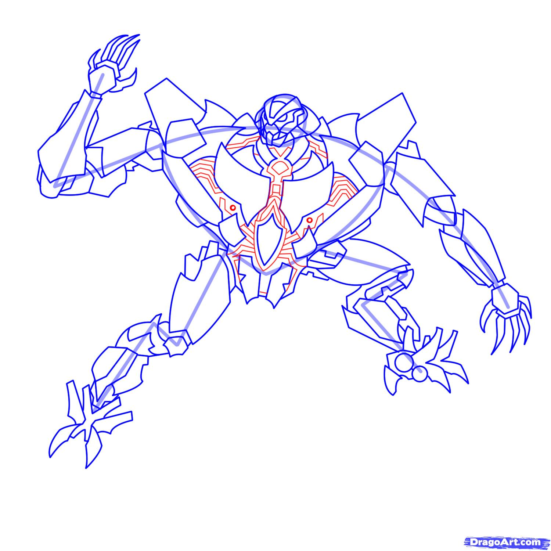 Рисуем трансформера Старскрима - шаг 19