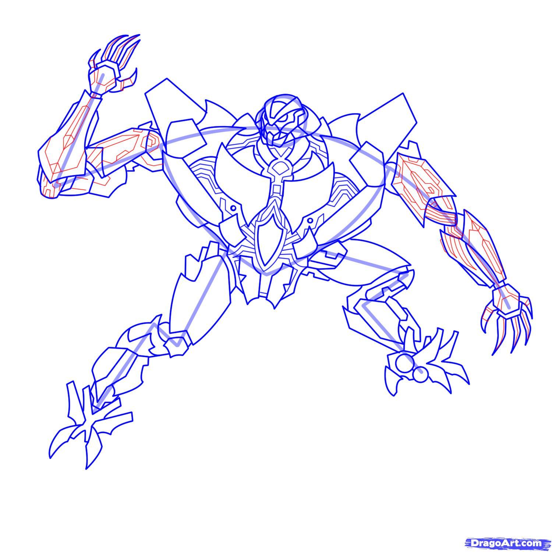 Рисуем трансформера Старскрима - шаг 20