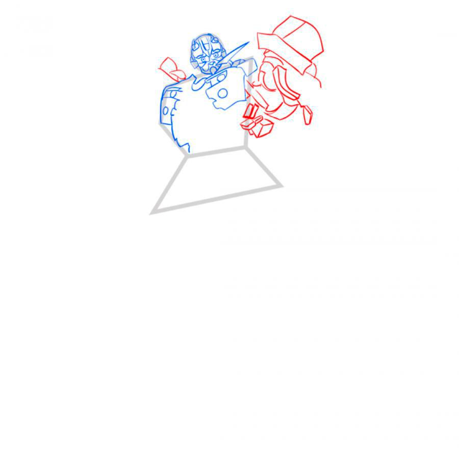Рисуем трансформера Бамблби - шаг 4