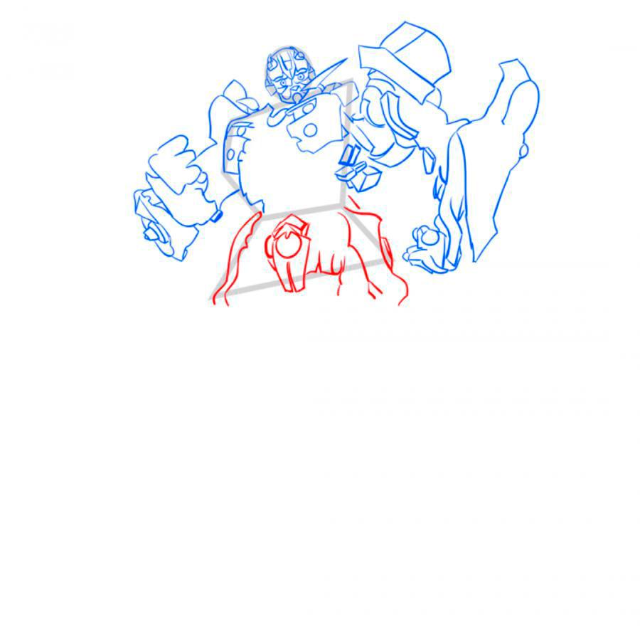 Рисуем трансформера Бамблби - шаг 6