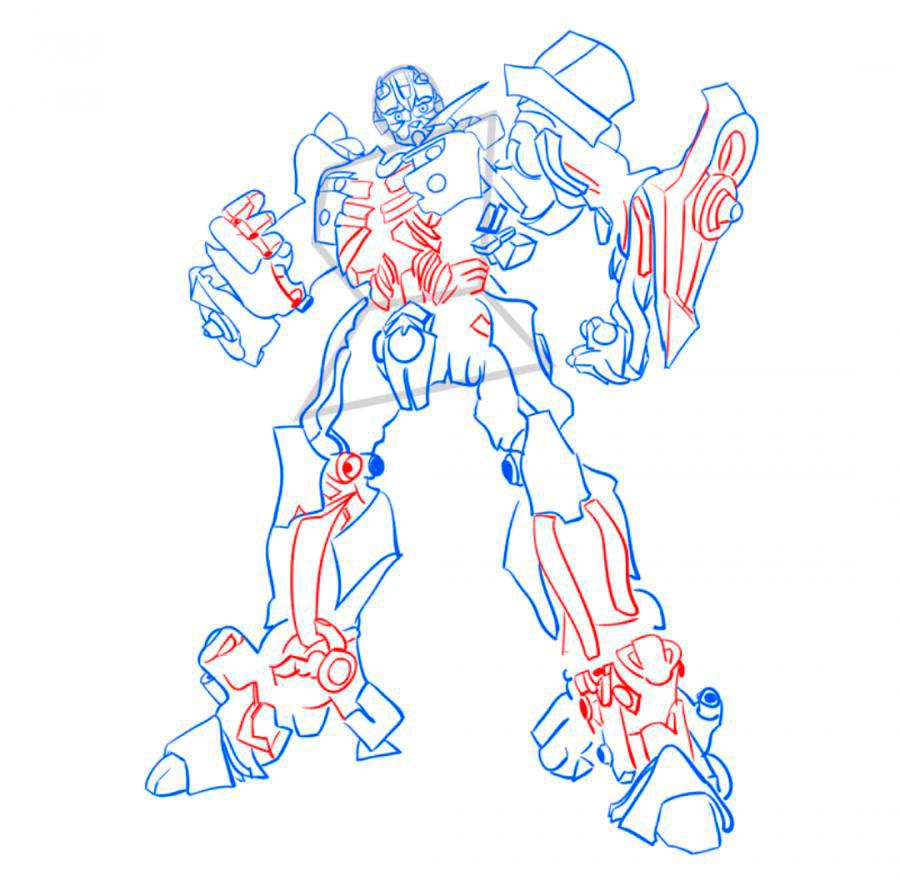Рисуем трансформера Бамблби - шаг 8