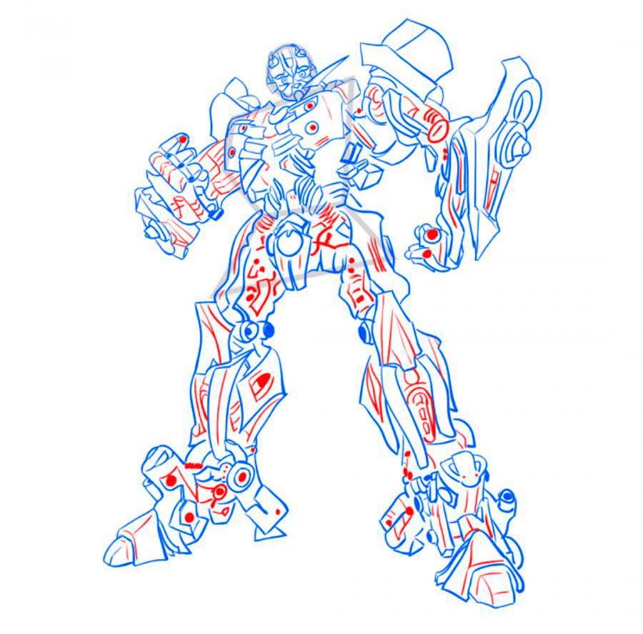 Рисуем трансформера Бамблби - шаг 9