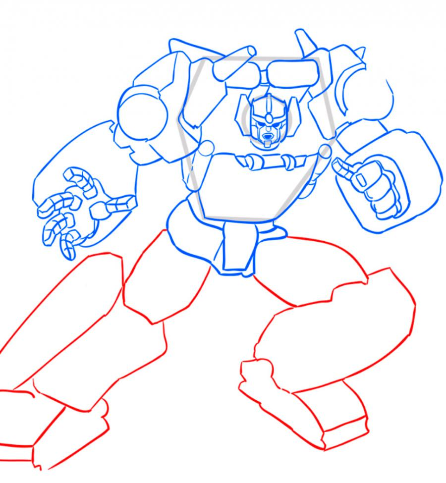 Как нарисовать трансформера Санстрикера карандашом поэтапно