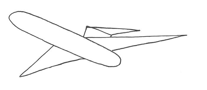 Учимся просто рисовать Самолёт Боинг 727 - шаг 1