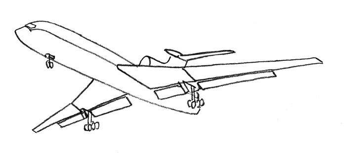 Учимся просто рисовать Самолёт Боинг 727 - шаг 3