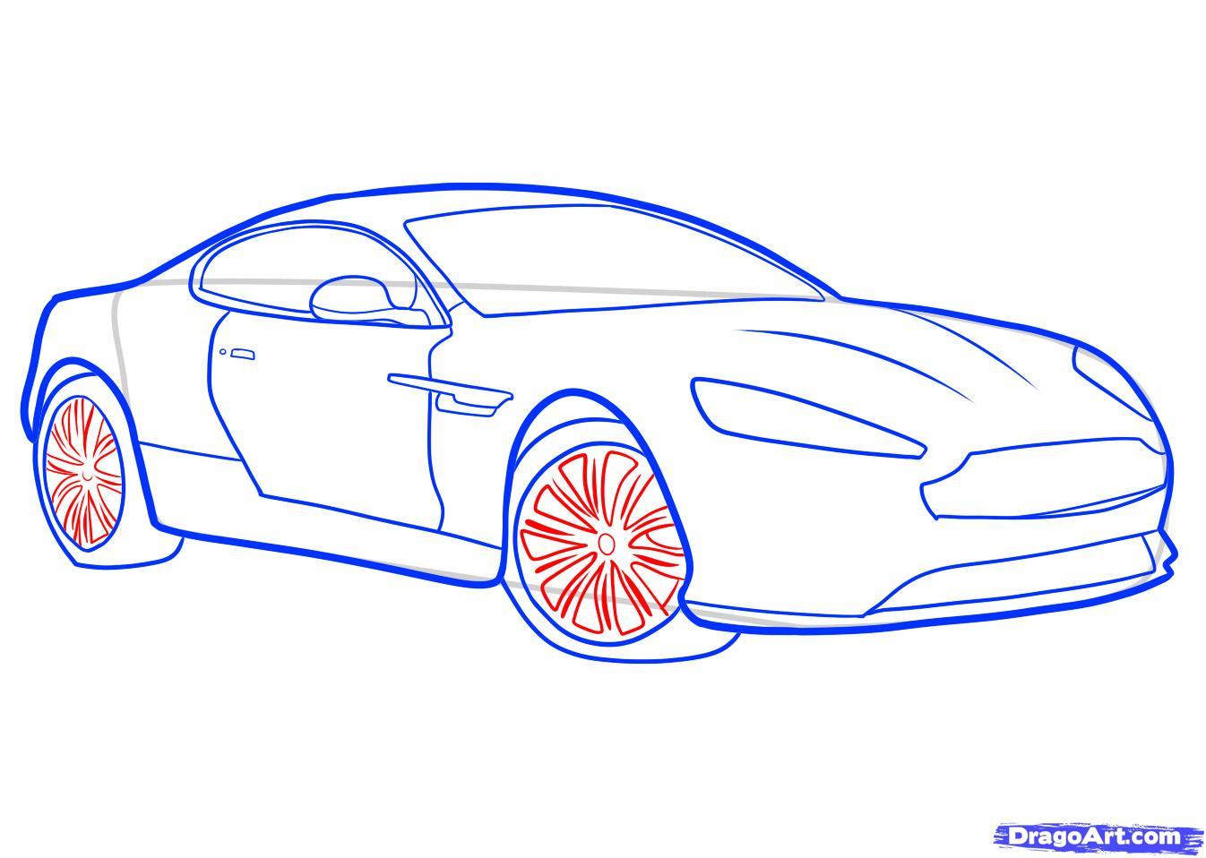 Рисуем машину Aston Martin карандашами - фото 7