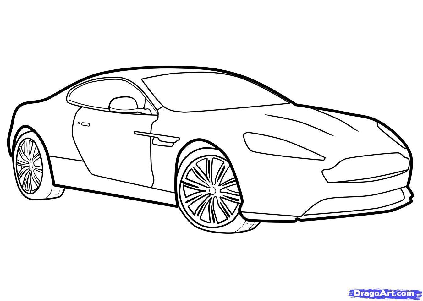 Как нарисовать машину Aston Martin Virage поэтапно