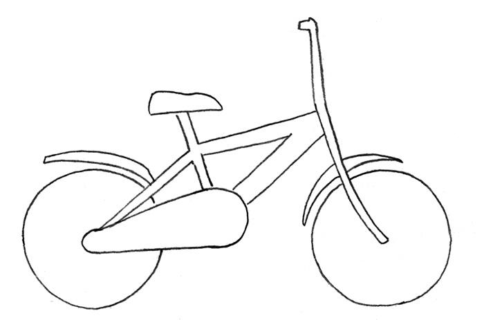 Учимся рисовать Велосипед - шаг 2
