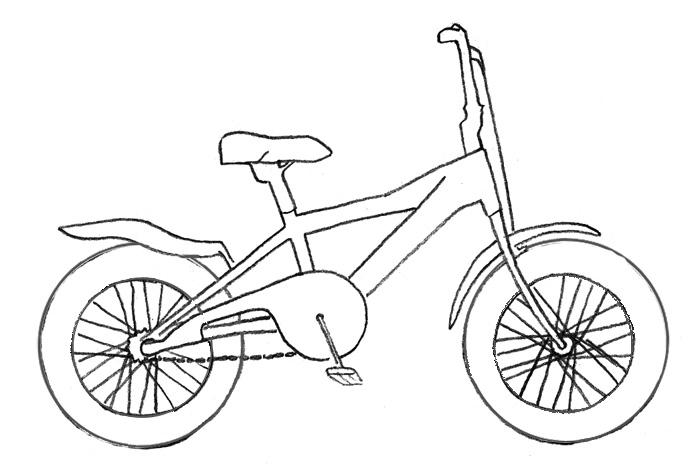Учимся рисовать Велосипед - шаг 3