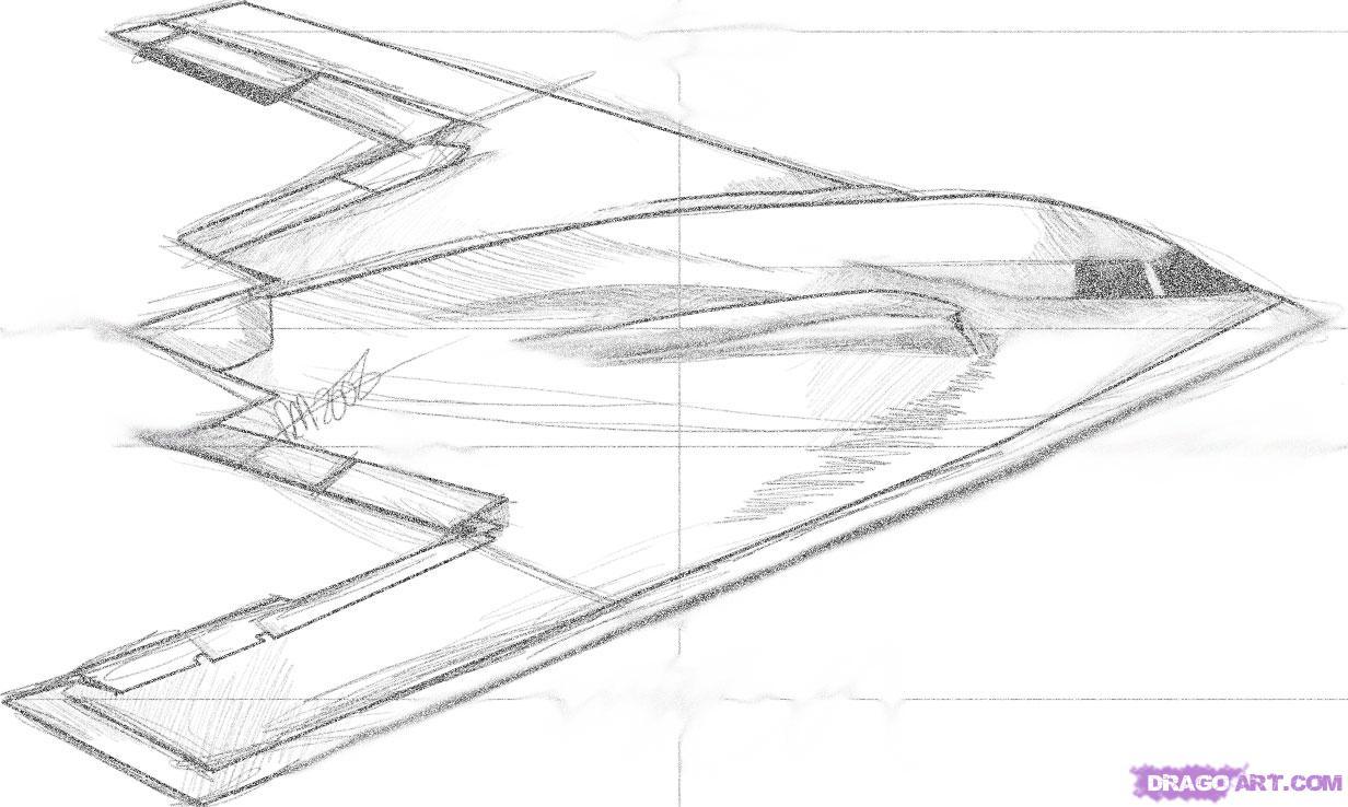 Как нарисовать самолет стелс (B-2 SpiritStealthBomber) поэтапно