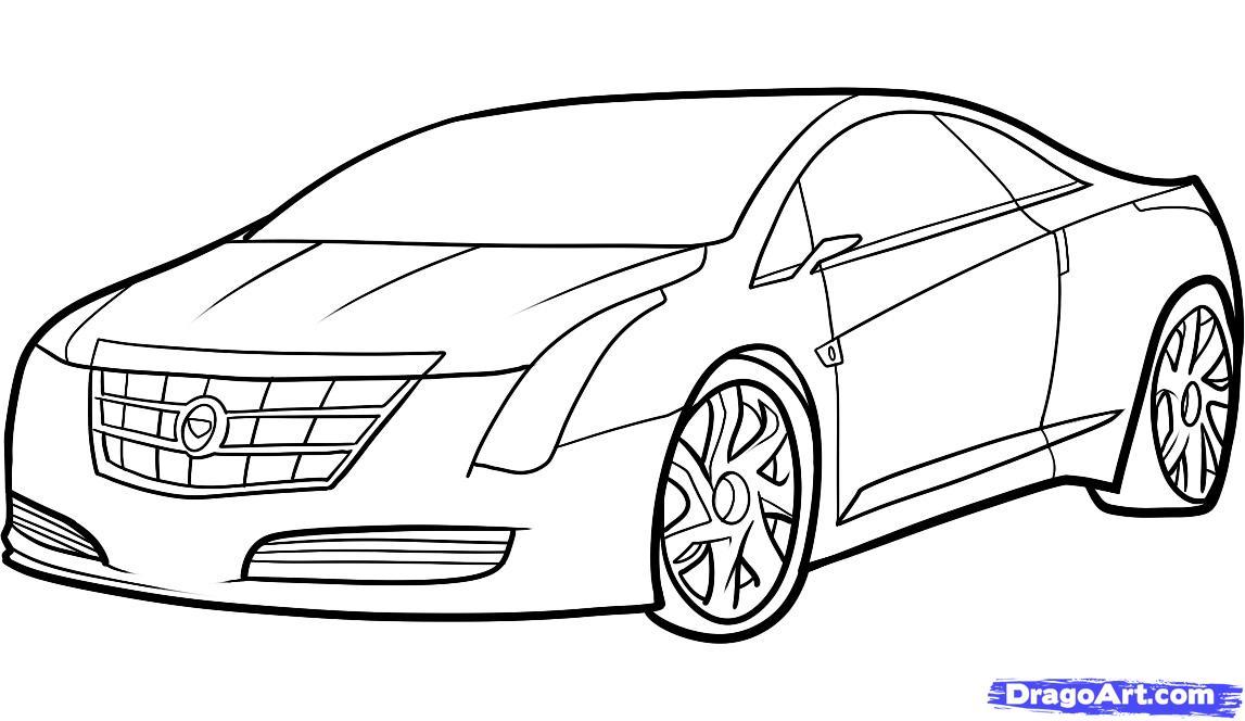Как нарисовать автомобиль Кадиллак (Cadillac ELR 2013) поэтапно