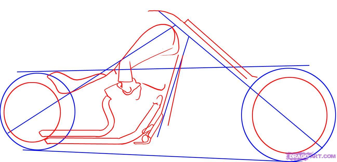 Рисуем крутой мотоцикл, байк (Harley-Davidson) - шаг 2