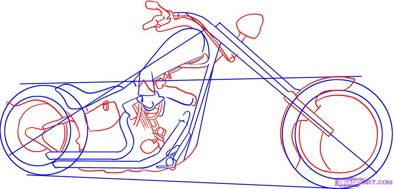 Рисуем крутой мотоцикл, байк (Harley-Davidson) - шаг 3