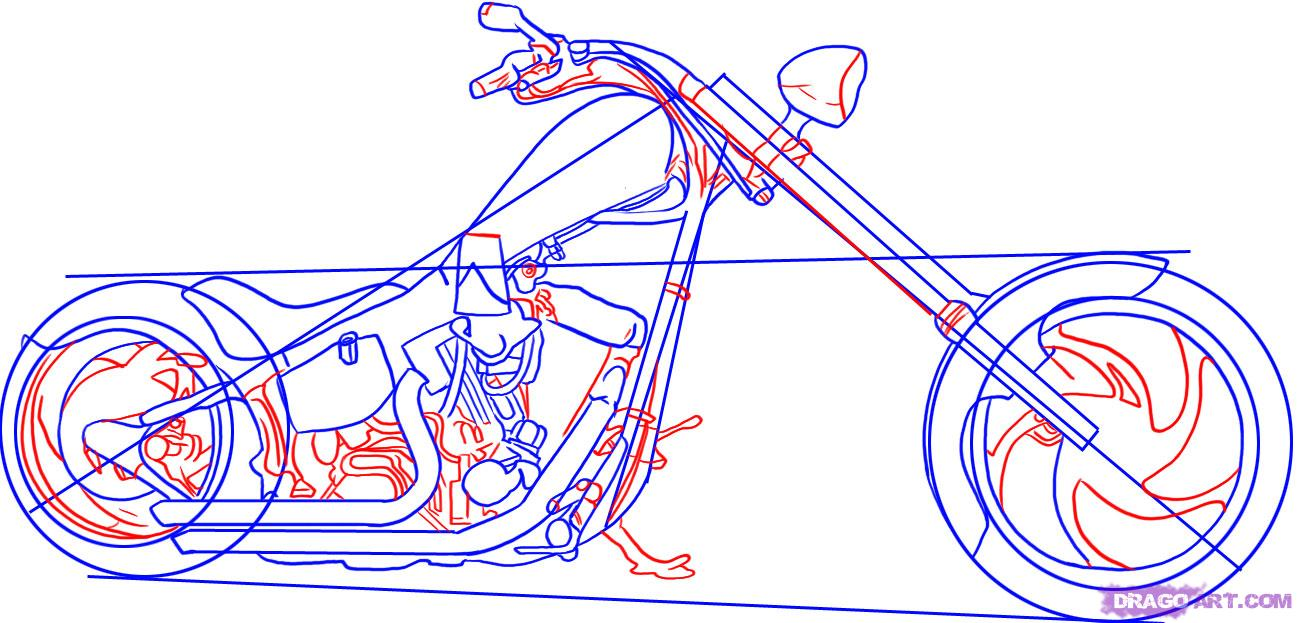 Рисуем крутой мотоцикл, байк (Harley-Davidson) - шаг 4