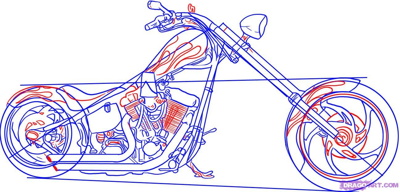 Рисуем крутой мотоцикл, байк (Harley-Davidson) - шаг 5