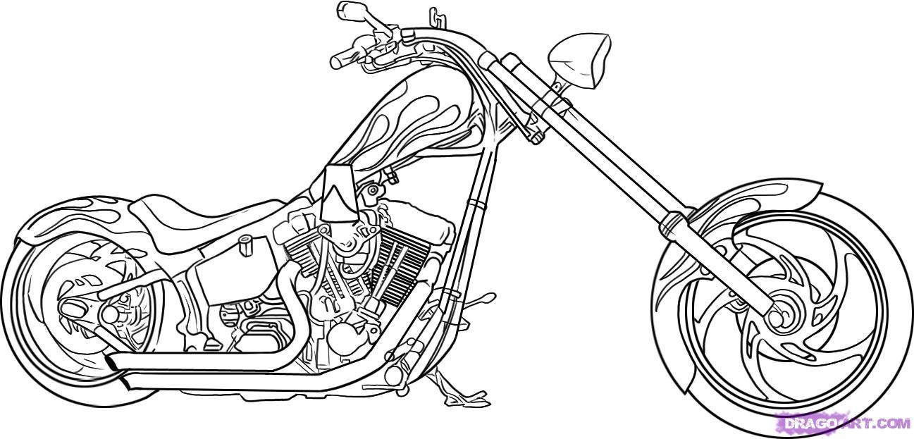 Как нарисовать мотоцикл, байк (Harley-Davidson) поэтапно