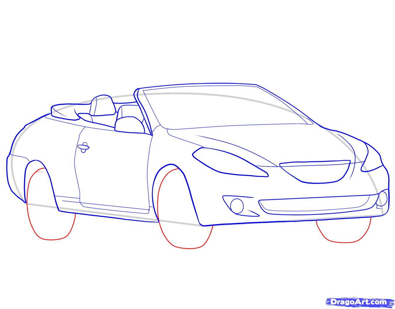 Рисунок машины в карандаше поэтапно
