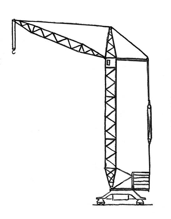 Нарисованные строительные краны