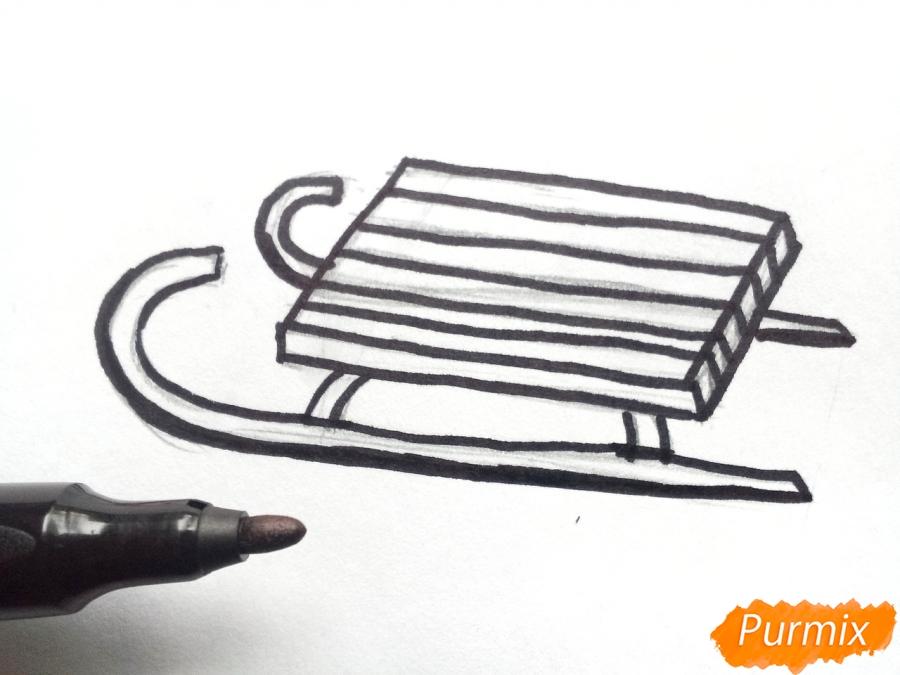 Рисуем санки просто для детей - шаг 4