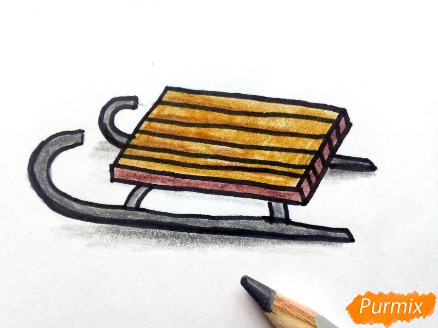 Рисуем санки просто для детей - фото 6