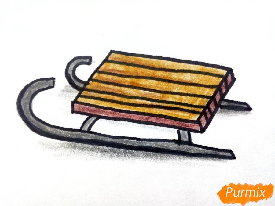 Рисуем санки просто для детей - фото 7