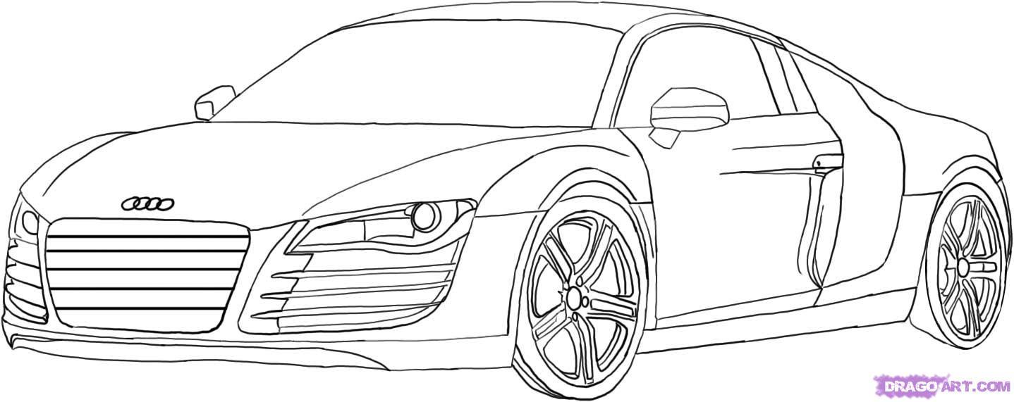 Как нарисовать машину Audi R8  поэтапно