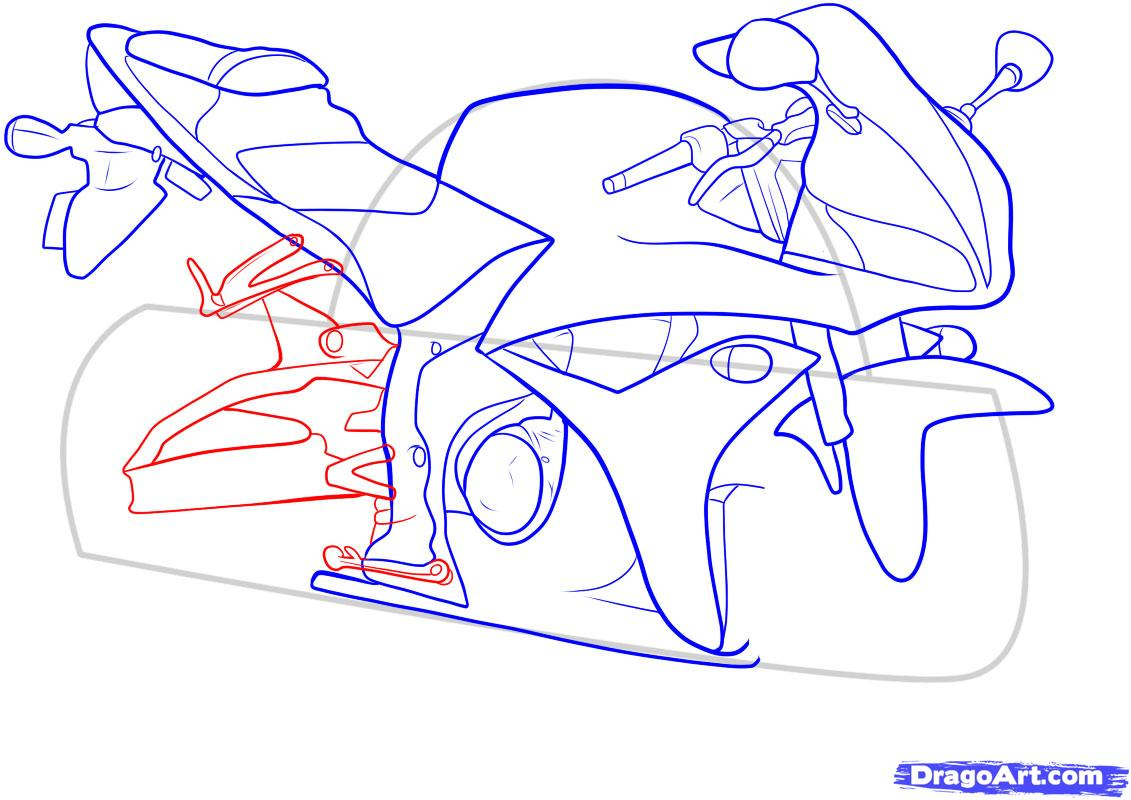Рисуем мотоцикл - шаг 10