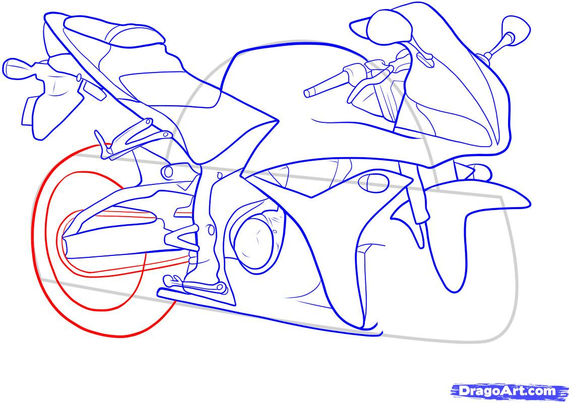 Рисуем мотоцикл - шаг 11