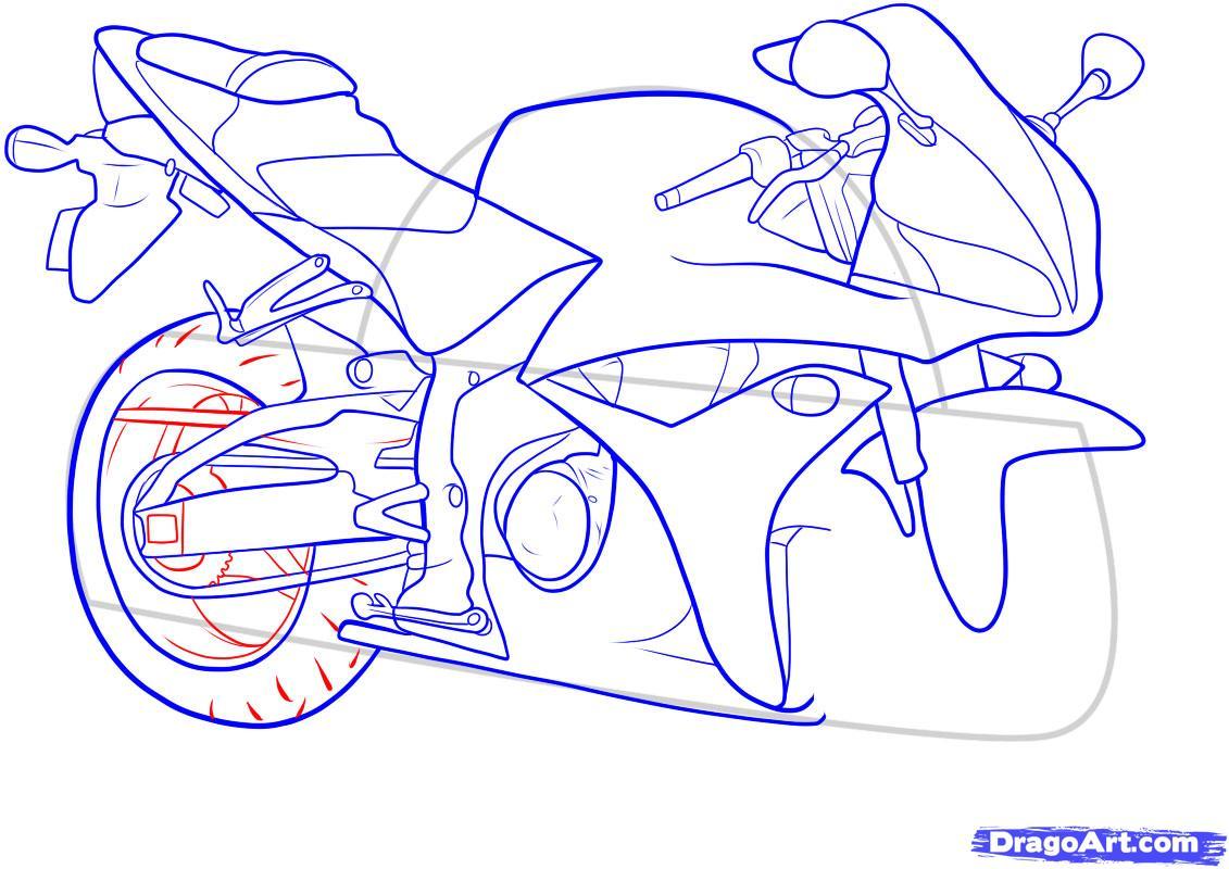 Рисуем мотоцикл - шаг 12