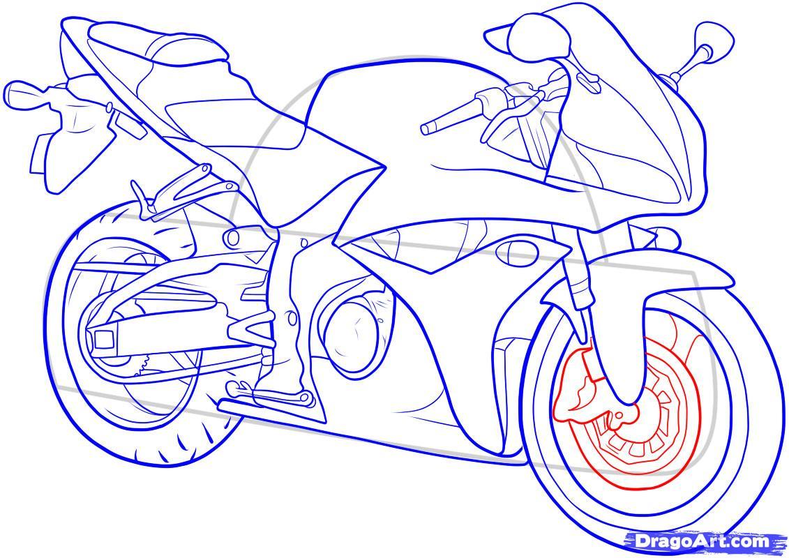 Рисуем мотоцикл - шаг 14