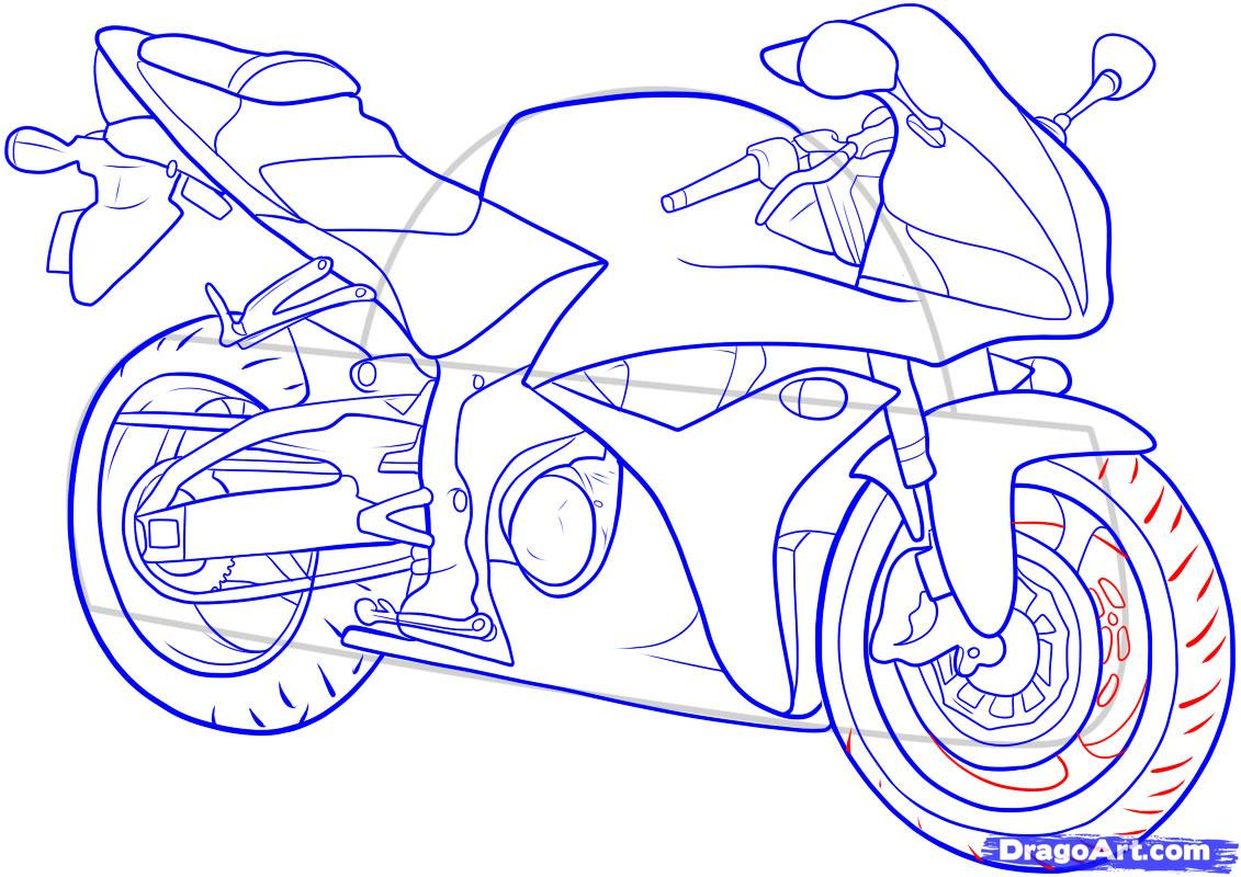Рисуем мотоцикл - фото 15