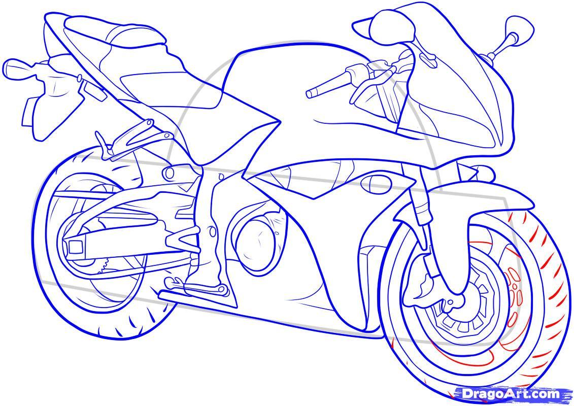 Рисуем мотоцикл - шаг 15