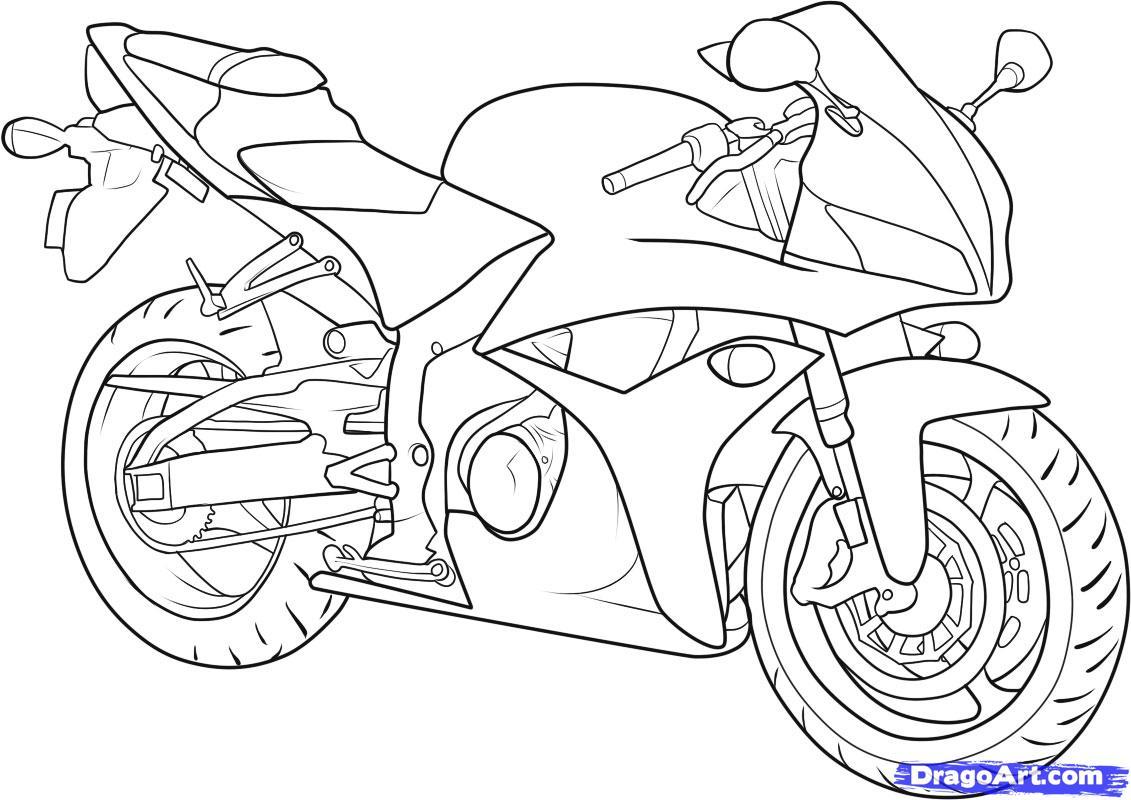 как нарисовать мотоцикл honda cbr