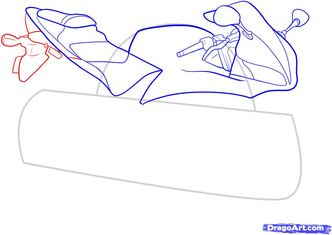 Рисуем мотоцикл - шаг 7