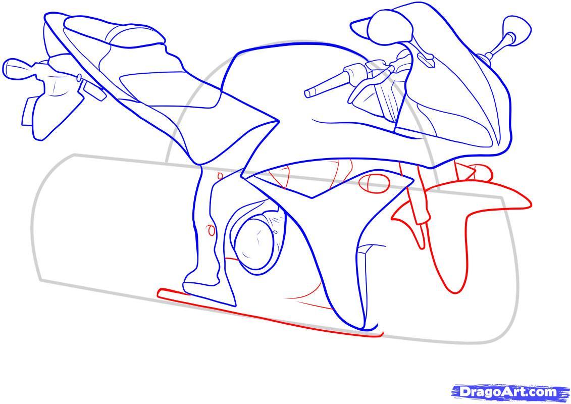 Рисуем мотоцикл - шаг 9