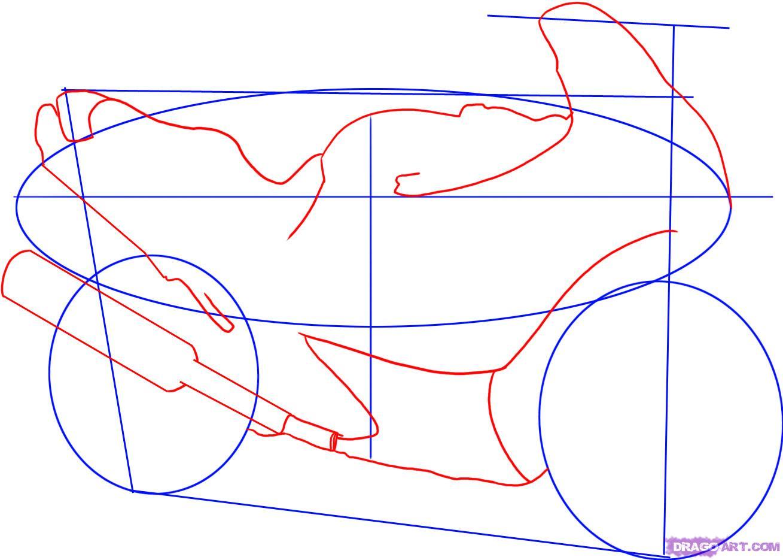 Рисуем гоночный мотоцикл Suzuki Katana 600 - шаг 2
