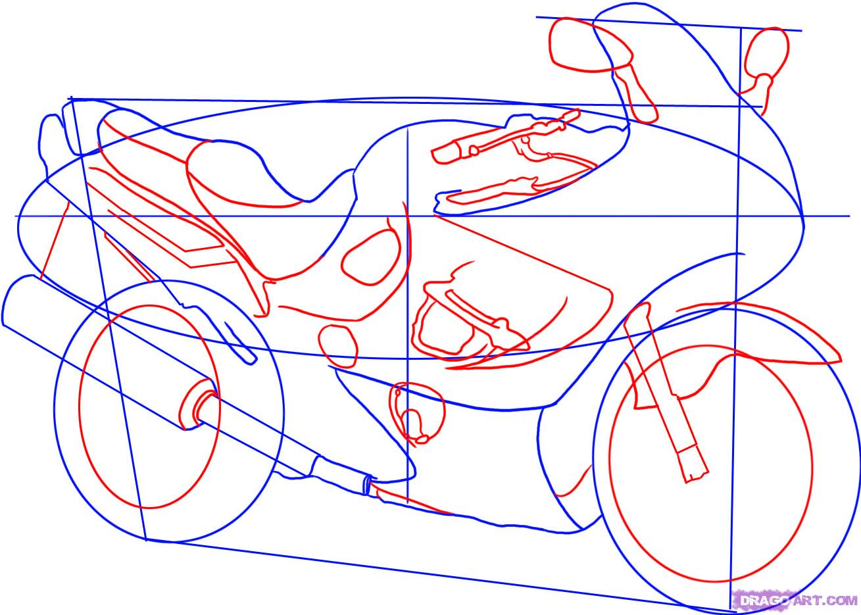 Рисуем гоночный мотоцикл Suzuki Katana 600 - фото 3
