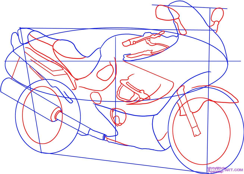 Рисуем гоночный мотоцикл Suzuki Katana 600 - шаг 3