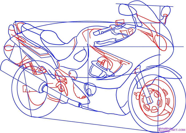 Рисуем гоночный мотоцикл Suzuki Katana 600 - шаг 4