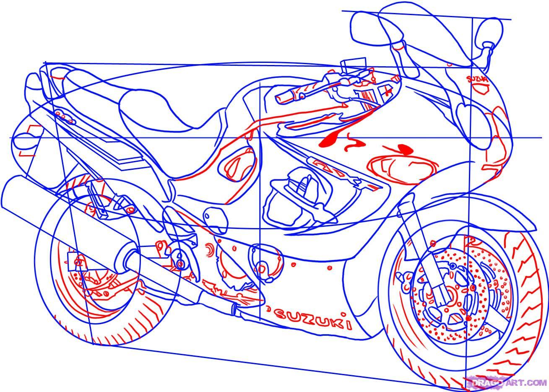Рисуем гоночный мотоцикл Suzuki Katana 600 - фото 5