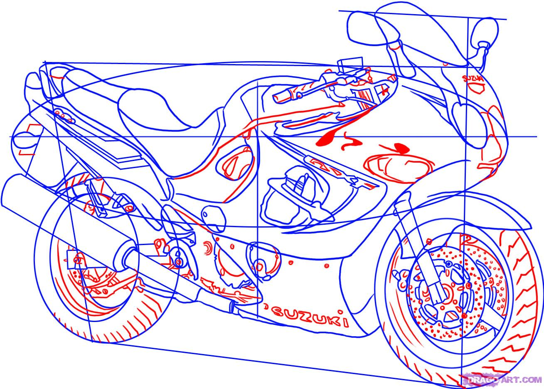 Рисуем гоночный мотоцикл Suzuki Katana 600 - шаг 5