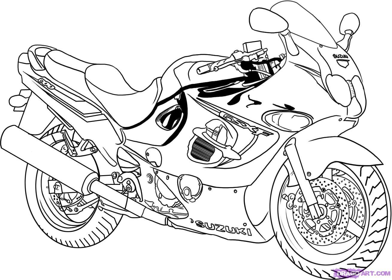 Рисуем гоночный мотоцикл Suzuki Katana 600 - фото 6