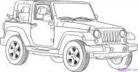 Как нарисовать Jeep Wrangler карандашом на бумаге