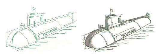 Рисуем атомную подводную лодку Курск