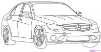 автомобиль Mercedes-Benz карандашом